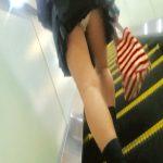 エスカレーター登るミニスカ制服JKをパンチラ逆さ撮り盗撮